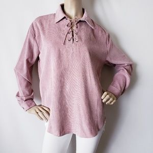 Very J Pink Corduroy Tunic Lace Up Top